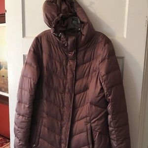 Eddie Bauer LG Tall Taupe Hooded Down Parka Coat